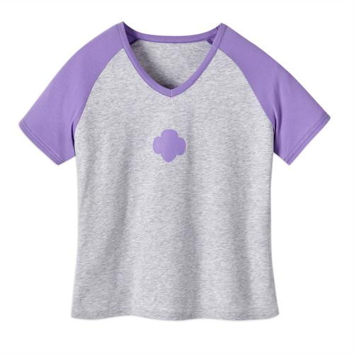 Gray V-Neck Purple Raglan Sleeves