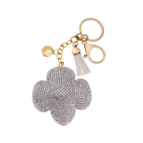 Rhinestone Trefoil Keychain Silver