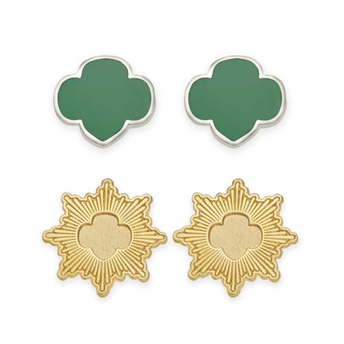 Gold Award And Trefoil Stud Earring