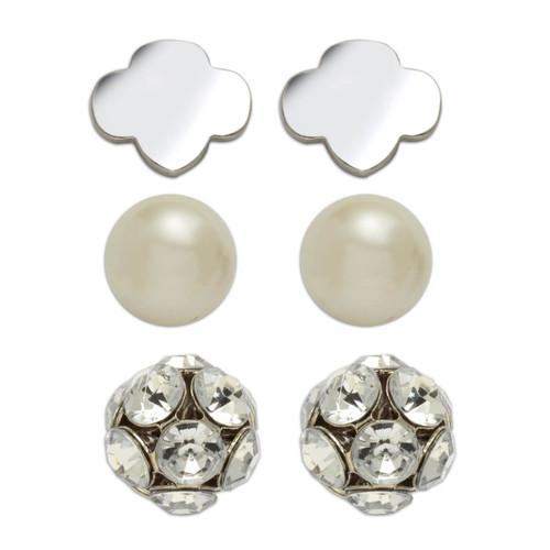 3-Pair Stud Earring Set