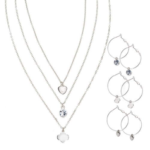 3-Pair Hoop Earring And Necklace Se
