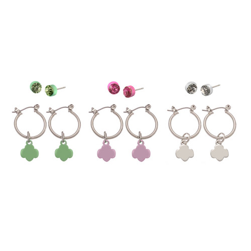 6-Pair Trefoil and Earrings