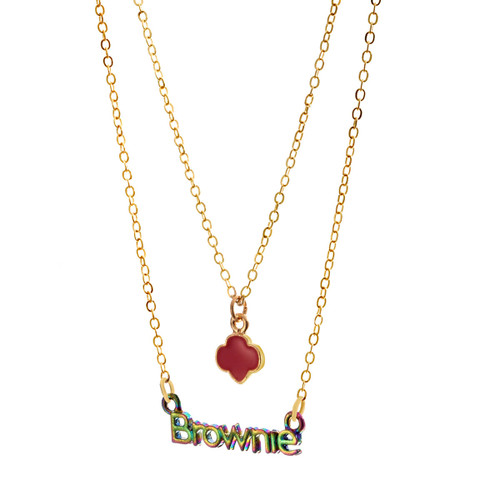 Brownie Trefoil Tiered Necklace