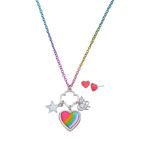 Rainbow Heart Locket Earring Set
