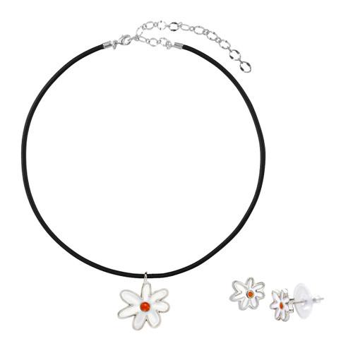 daisy earring necklace set
