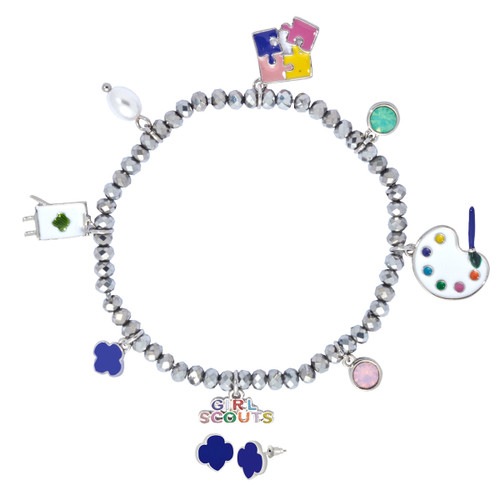 Charm Stretch Bracelet Earring set