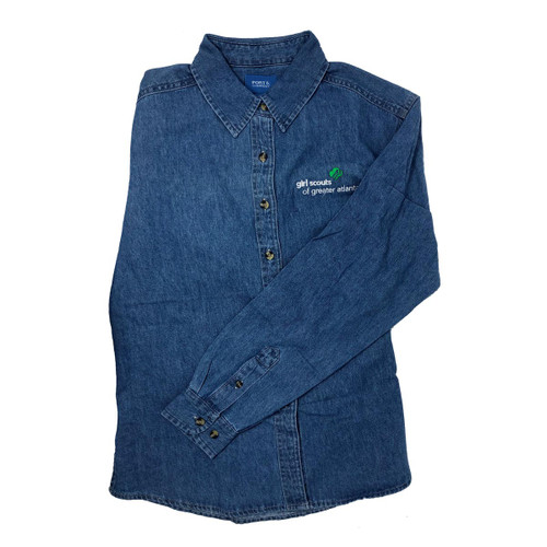 GSGATL Faded Denim Long-Sleeve Collared Button Up