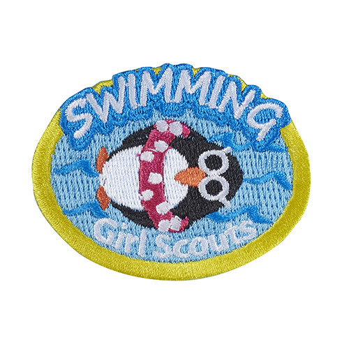 Swimming Penguin Iron-On Patch